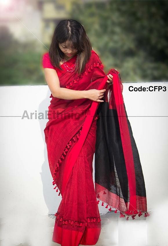 ef073b1cd26 Lovely red and black saree designed with tassels | trendy and ...