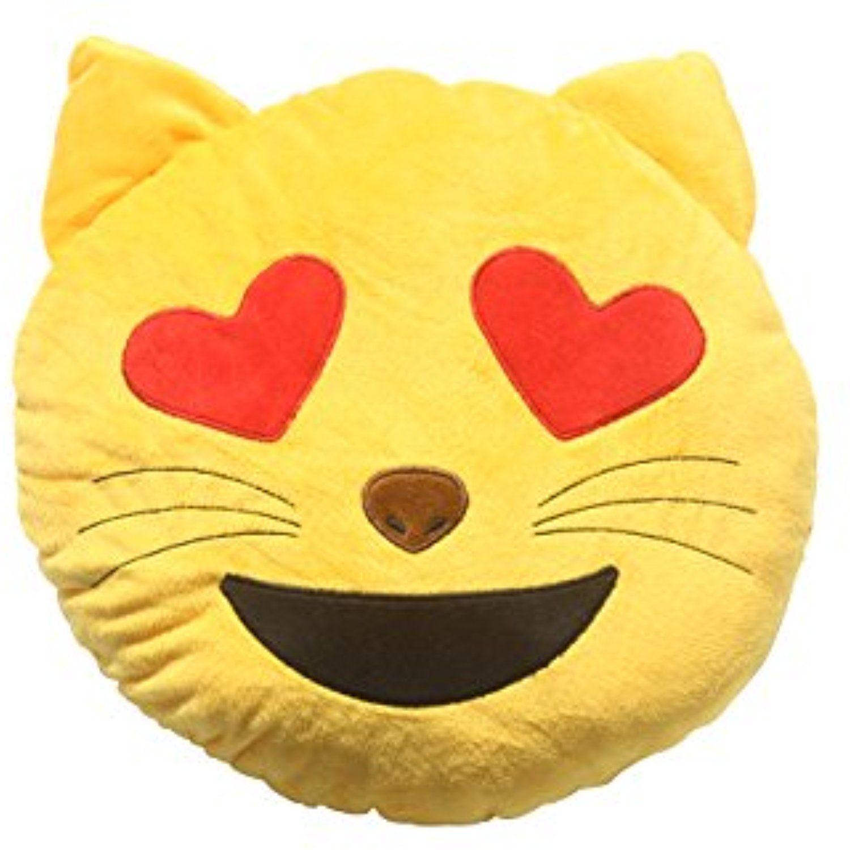 Soft Emoji Emoticon Cat Heart Eyes Face Yellow Round