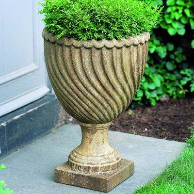 Campania International Ravenna Cast Stone Urn Planter Color Aged Limestone Urn Planters Stone Planters Planters
