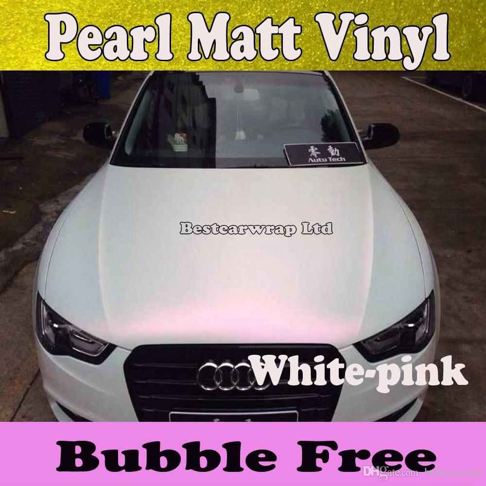 CF White Car Pearl Metal Satin Matte Metallic Chrome Vinyl Wrap Sticker Film