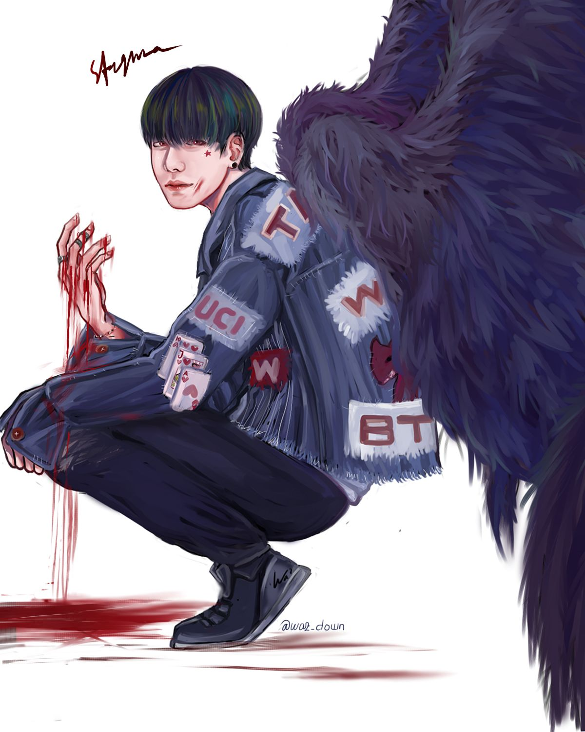 Bts Kim Taehyung Blood Sweat And Tears Wings Spring Day Fanart