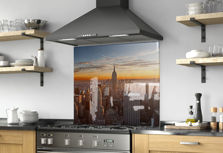 Manhattan Wall Art City Decor Modern Kitchen Backsplash Mural