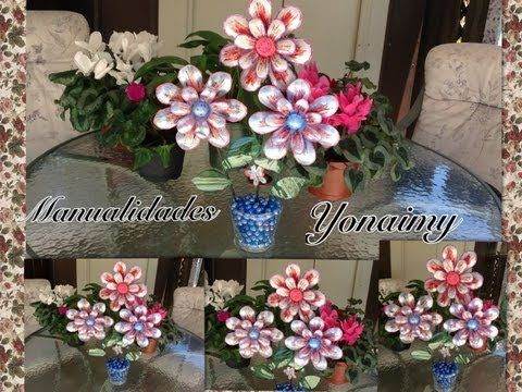FLORES GRANDES HECHAS CON BOTELLAS RECICLADAS - YouTube