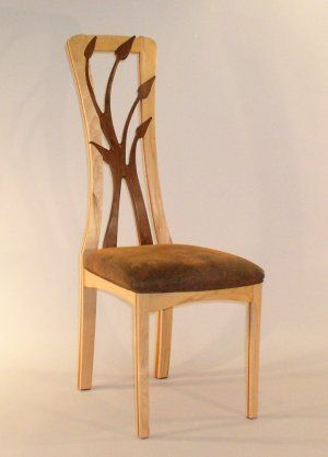Cherry wood chair with black walnut back by Julian Hamer