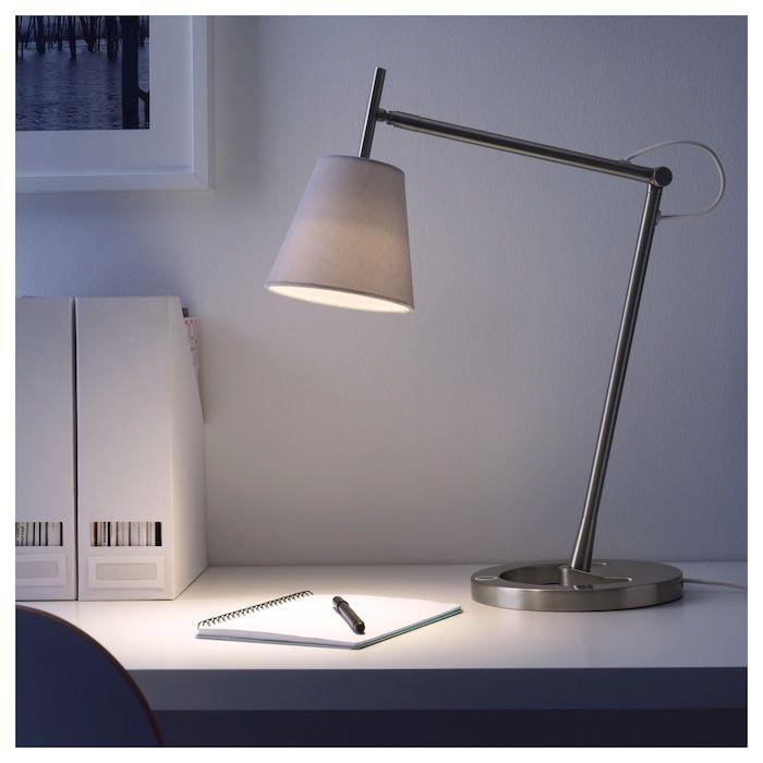 Nyfors Lampa Biurkowa Niklowano Bialy Kupuj Online Lub W Sklepie Ikea Work Lamp Lamp Desk Lamps