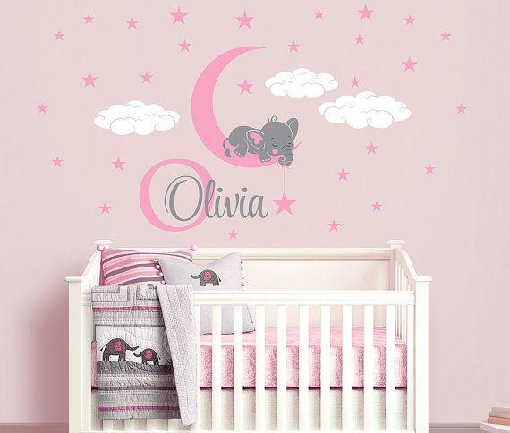 Elephant on moon custom name repositionable wall decal sticker for nursery girl 39 s room or - Decoration de bebe ...