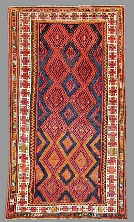 Kurdish Rug From Nw Iran Mid 19th Century 140 X 2465 Cm
