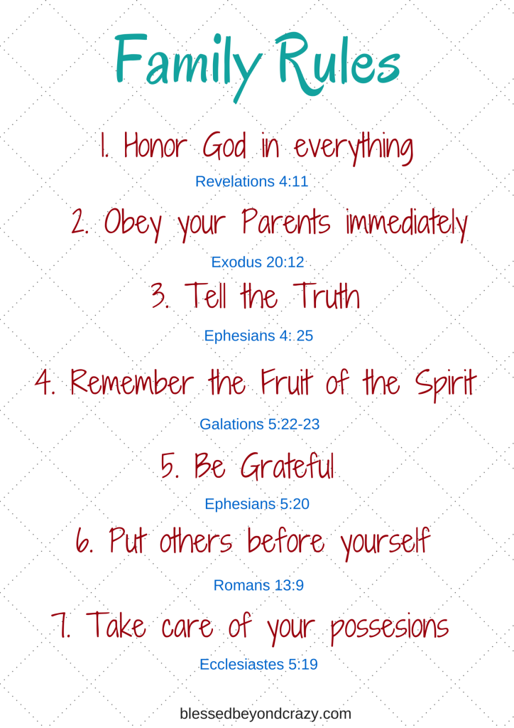 Family Rules Based On Biblical Truths Blessed Beyond Crazy Verses For Kids Family Rules Bible For Kids