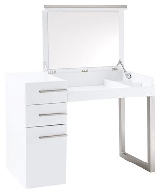 Furniture Dressing Table, White Dressing Table With Fold Down Mirror