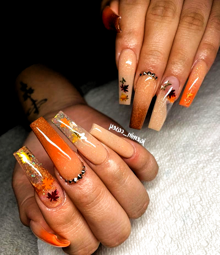 78 Pretty Acrylic Coffin Nails Design You Need To Try 06 Fall Nails Acrylic Autumn In 2020 Long Acrylic Nails Nails Coffin Nails Designs