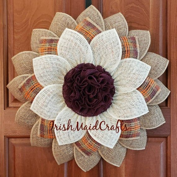 Photo of Large natural, orange, burgundy, moss and cream poly burlap and burlap flower wreath door decor, sunflower wreath.
