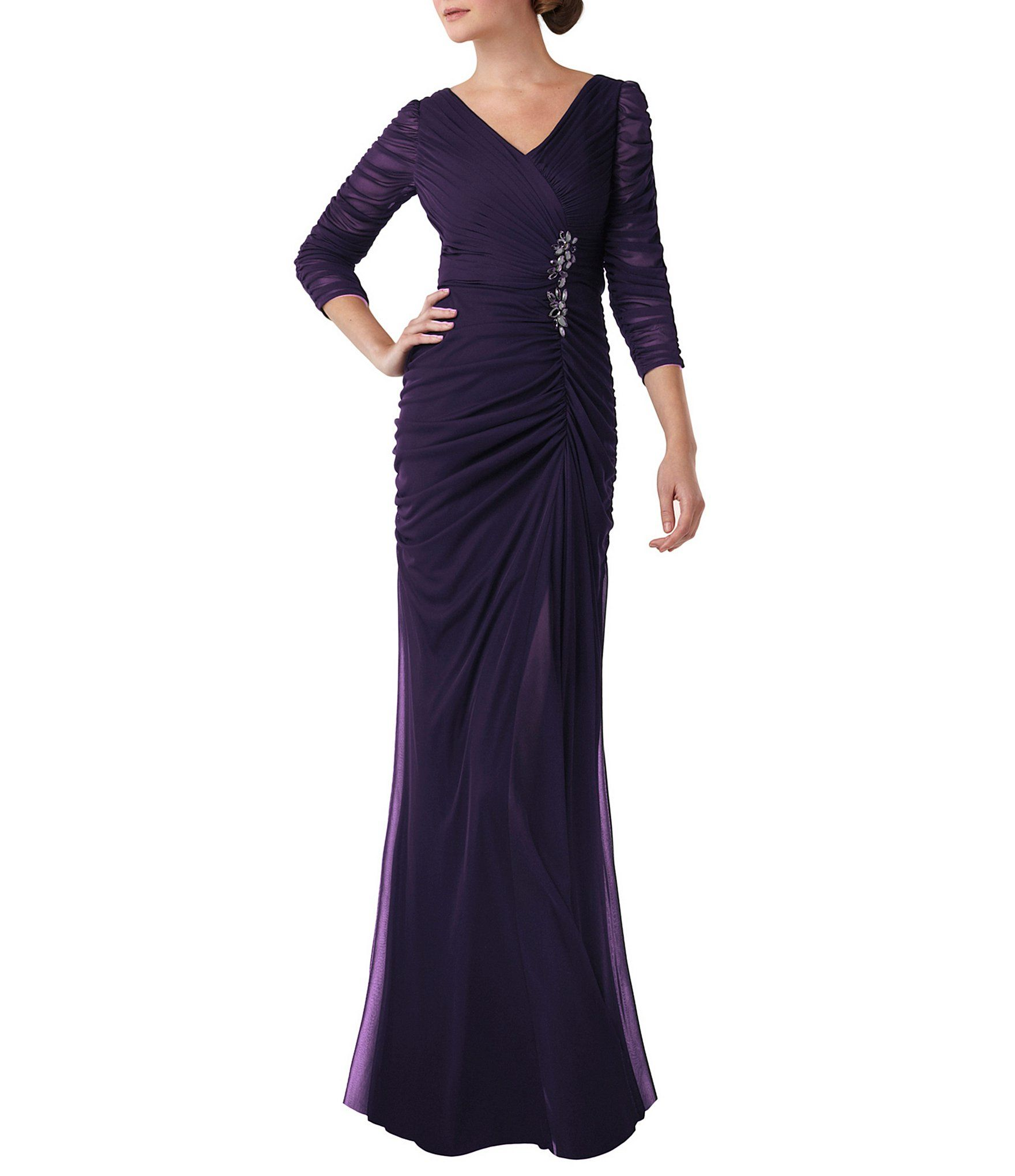 Adrianna Papell Sheer-Sleeve Embellished Gown