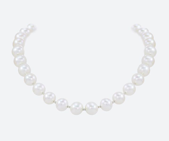 """""""Zara"""", Perlencollier mit weißen Süßwasserperlen AA, 10-11 mm"""