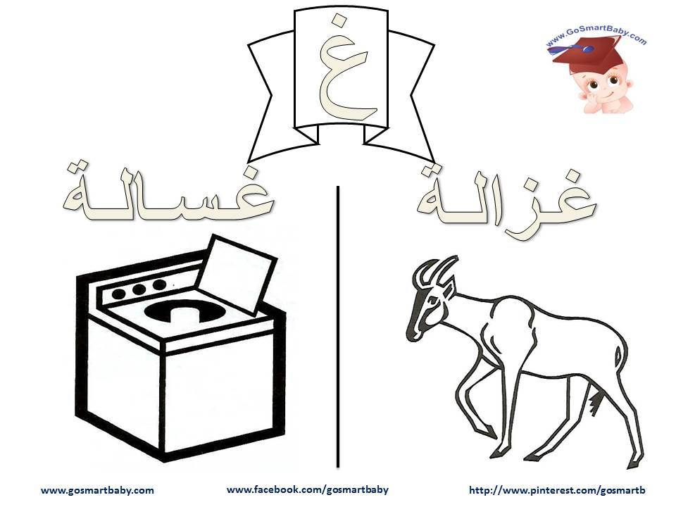 Smart Baby تلوين الحروف العربية حرف الغين غ Arabic Kids Lettering Alphabet Arabic Alphabet