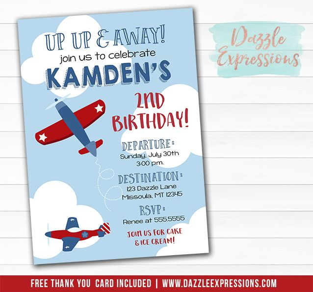 Blue /& Red Vintage Plane Party Thank You Cards