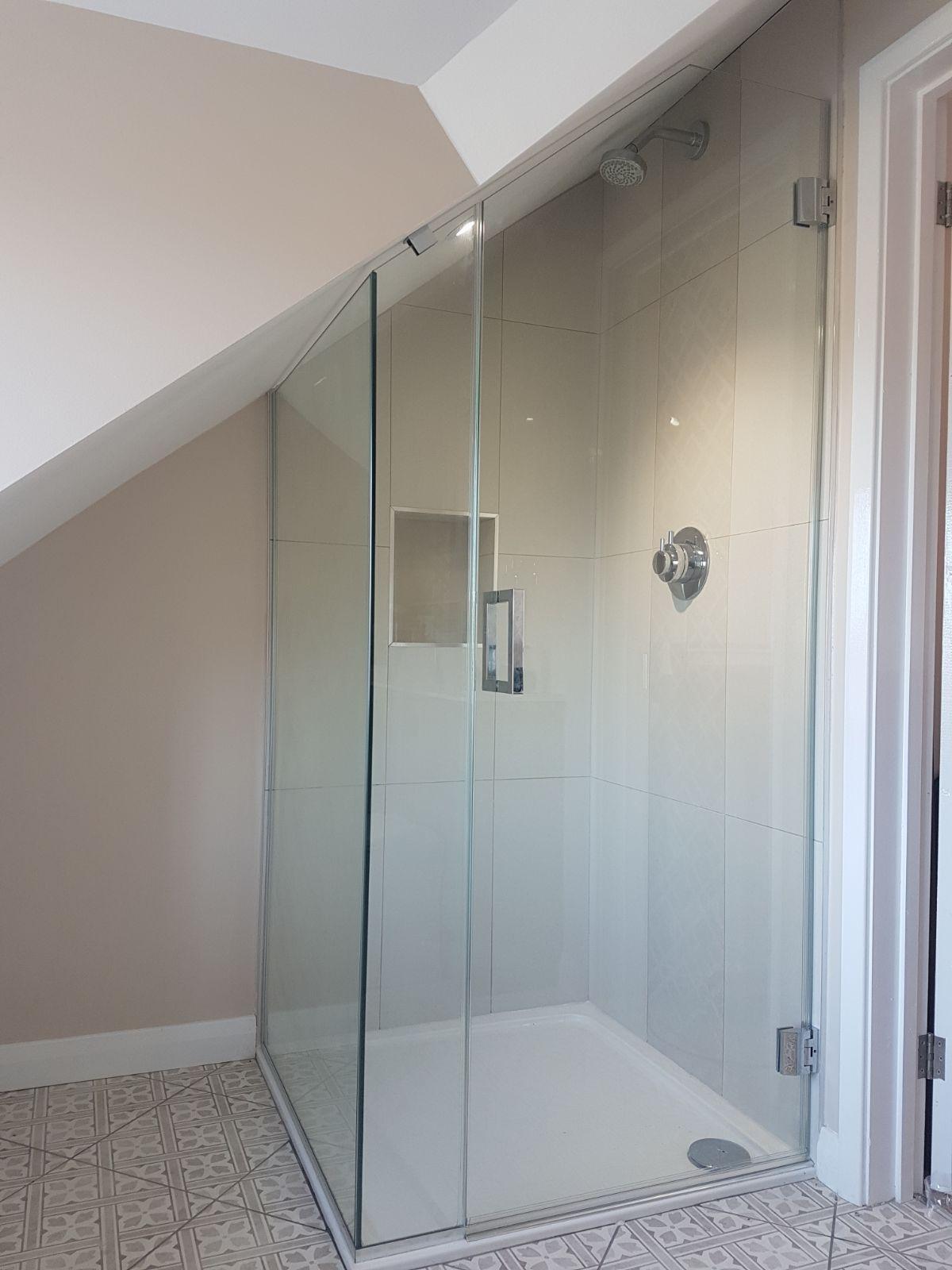 Frameless Attic Shower Enclosure Installed In Kent Attic Shower Attic Bathroom Loft Bathroom