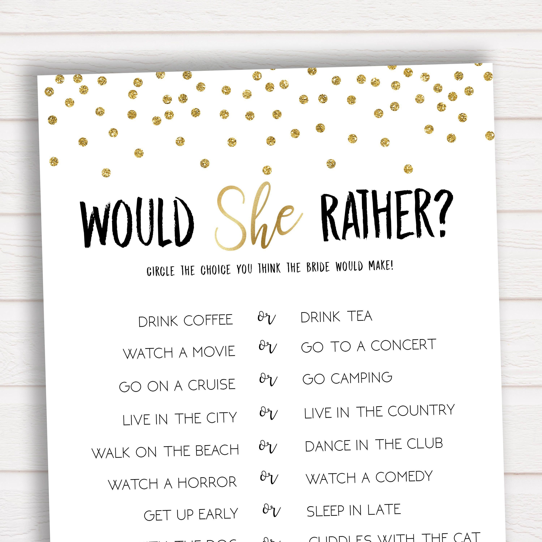would she rather bridal shower game bridal shower game bachelorette party bachelorette games