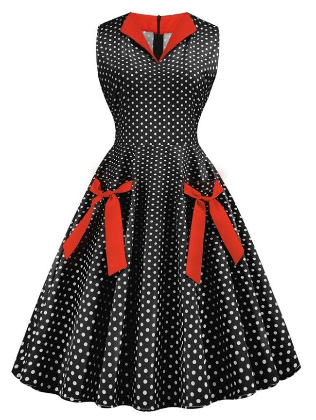 Polka Dot Knotted Pockets Sleeveless Dress #blacksleevelessdress