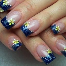 Navy Blue And Plumeria With Images Beach Nail Art Designs Nail Art Designs Nail Art Designs Summer