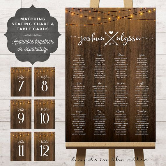 Wedding Seating Chart Printable With Table Number Cards Fairy String Lights Guest Assignment Poster Board Reception Ideas DIGITAL By HandsInTheAttic