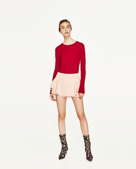 5881bb2b7 Imagen 1 de FALDA PANTALÓN VOLANTES de Zara | Style. I | Pantalones ...