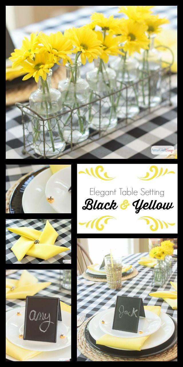 Black Yellow Table Decoration Ideas Yellow Table Blue Table Settings Table Decorations