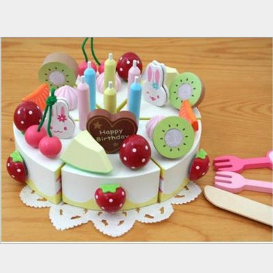 Baby Wooden Kitchen Toy Set Pretend Play Girl Fruit Birthday Cake