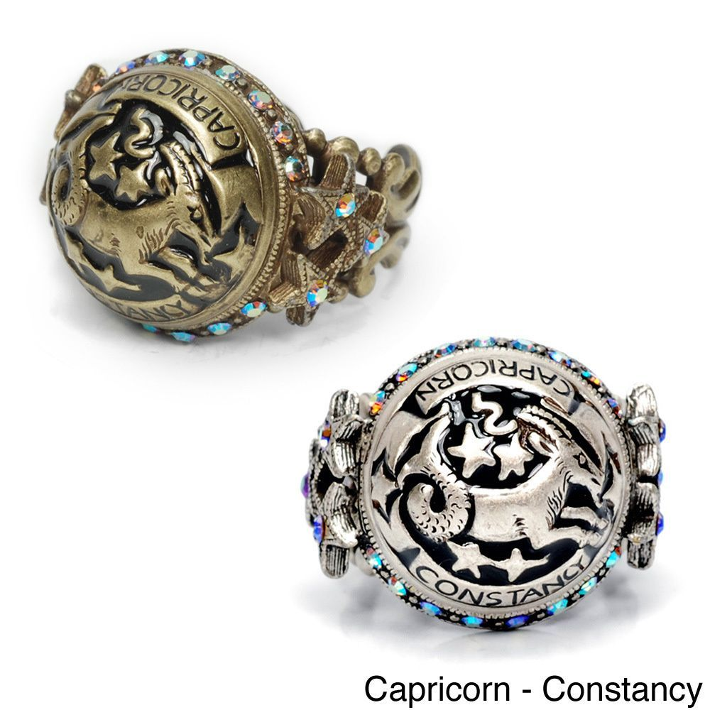 Sweet Romance Zodiac Sign Astrology Silver Enamel Ring (Capricorn Bronze), Women's, Size: Adjustable, Brown
