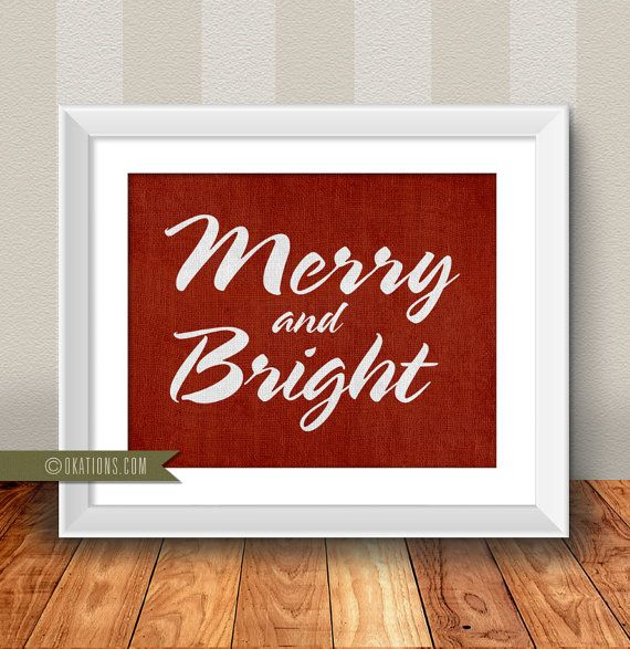 Christmas Merry And Bright- red burlap background-  Instant Download - Digital File - Printable - Downloadable