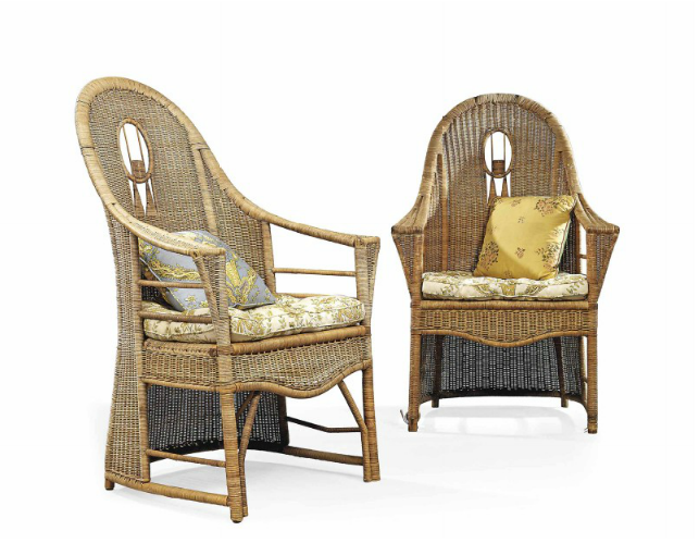 French rattan armchairs - ca 1930