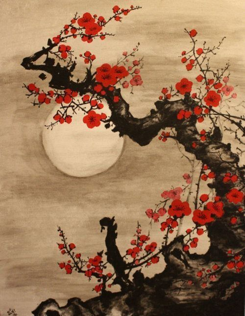 Japanese Inspired Cherry Blossoms At Night Watercolor Potential