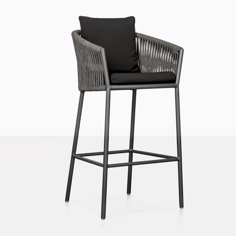 The Washington Rope Bar Stool Is Our Most Modern Outdoor Bar Stool Yet Its Elegant Chic Stylis Modern Outdoor Bar Stools Outdoor Bar Stools Patio Bar Stools