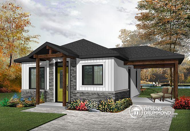 W1910-BH1 - Plan de maison moderne rustique, 2 chambres, aire - liste materiaux construction maison