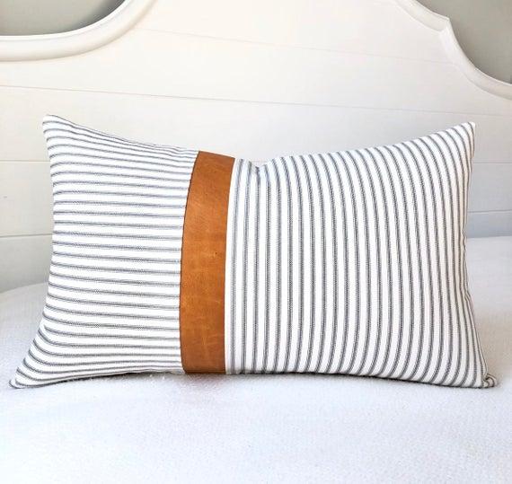 Cuscini A Righe Per Divani.Lumbar Pillow Cover Ticking Stripe Leather Pillow Cover 12x20