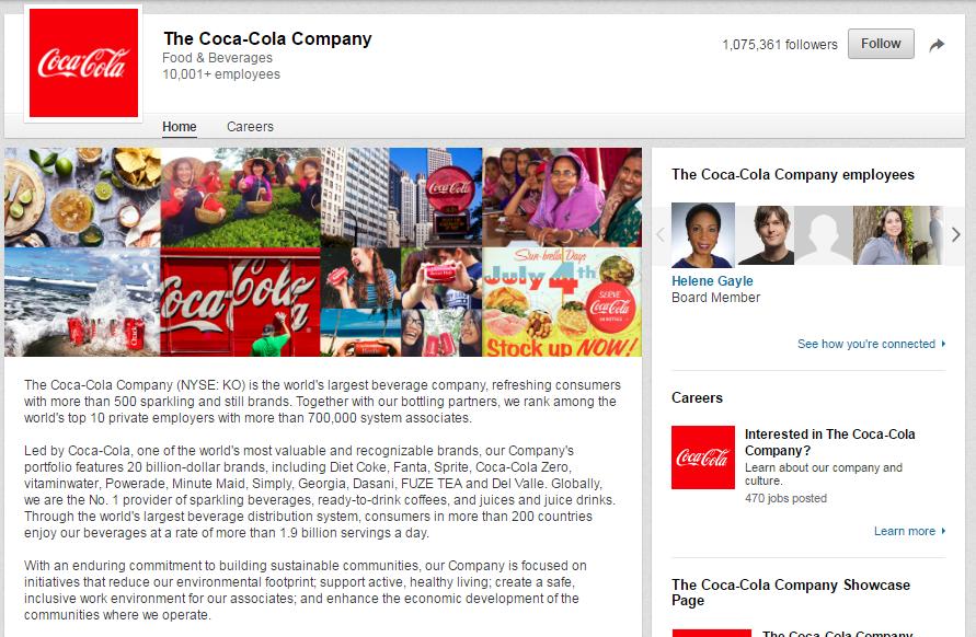 Coca-Cola-LinkedIn-Page
