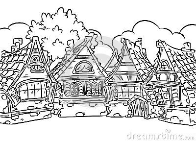 Medieval Halftimbered houses village coloring page illustration