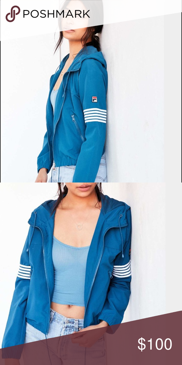 Coats · Fila for urban outfitters bright blue windbreaker Ahhhhhhmazing. My  fave jacket ... 642a08748