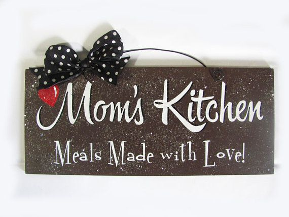 Moms Kitchen sign In brown or pink by DiamondDustDesigns on Etsy, $12.00