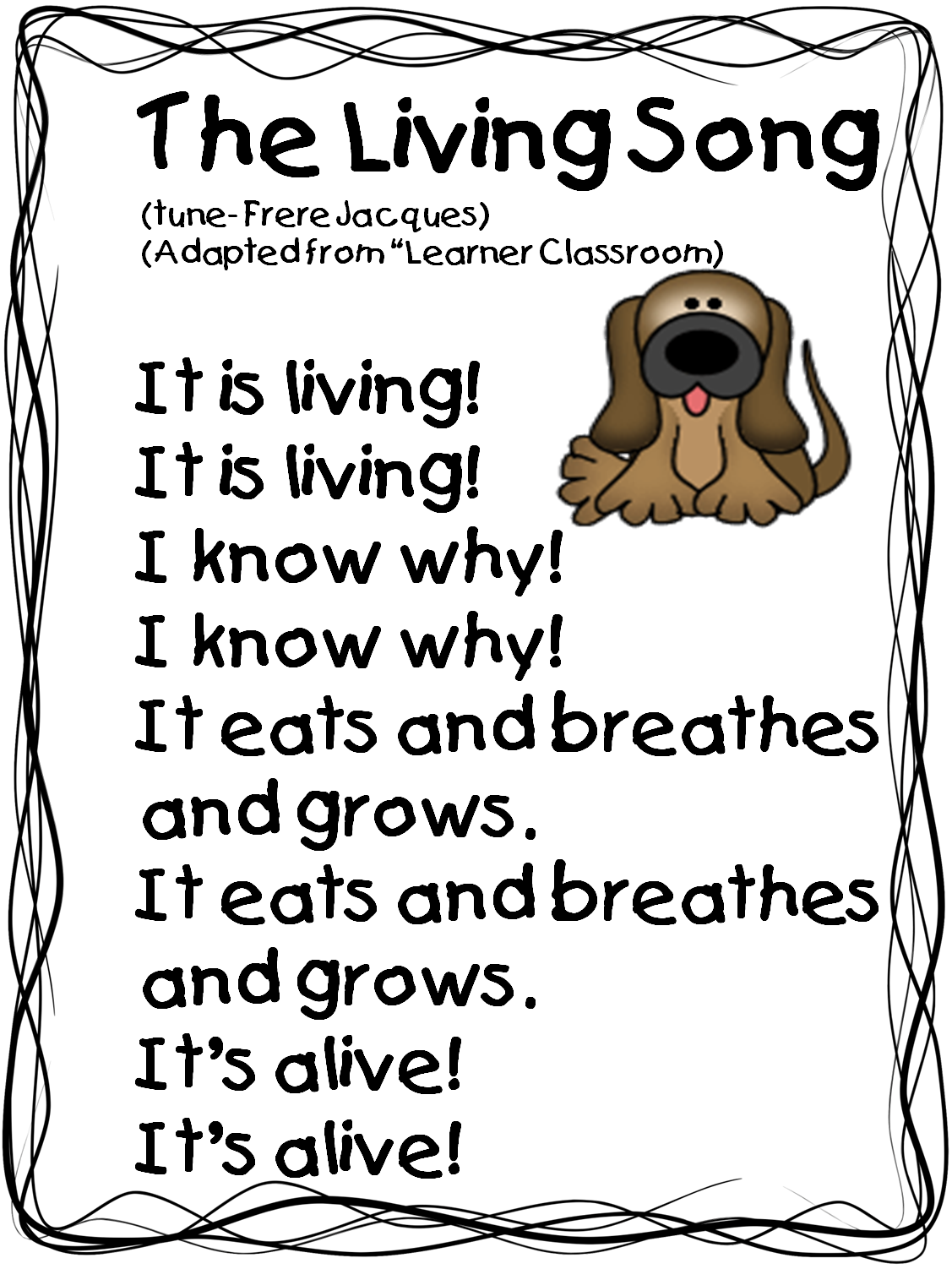 worksheet Living And Nonliving Worksheets the living song tune frere jacques this is great to add a unit on and non things because it will help student