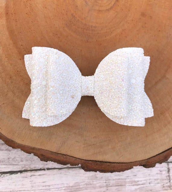 White bow / White glitter bow / White Headband / White hair bow / White Glitter hair bows / White p
