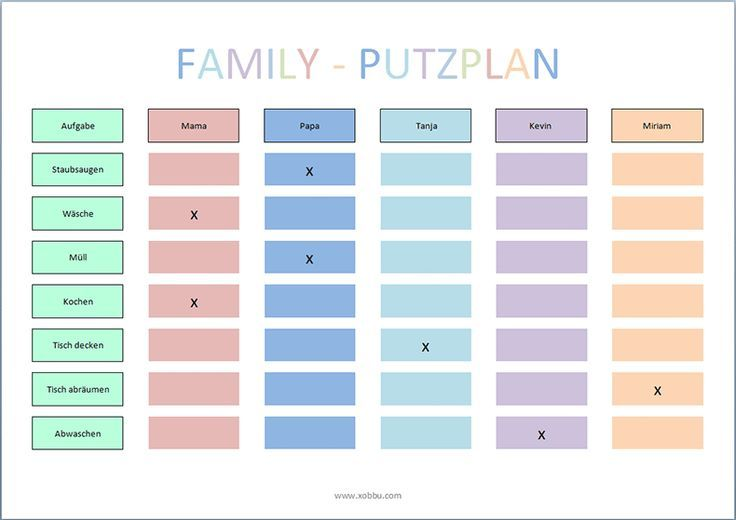 Putzplan Vorlage Familie Haushaltsplan Vorlage Haushaltsplaner Planer