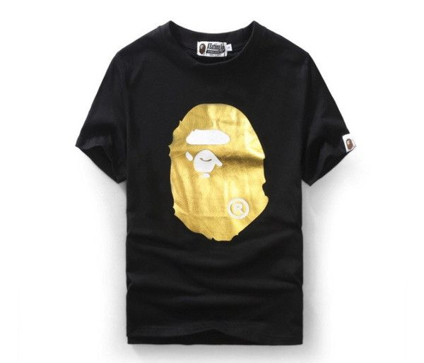 1fc60ba148e6 BAPE Gold Logo Front Back Shirt Material  100% Cotton O-Neck ...