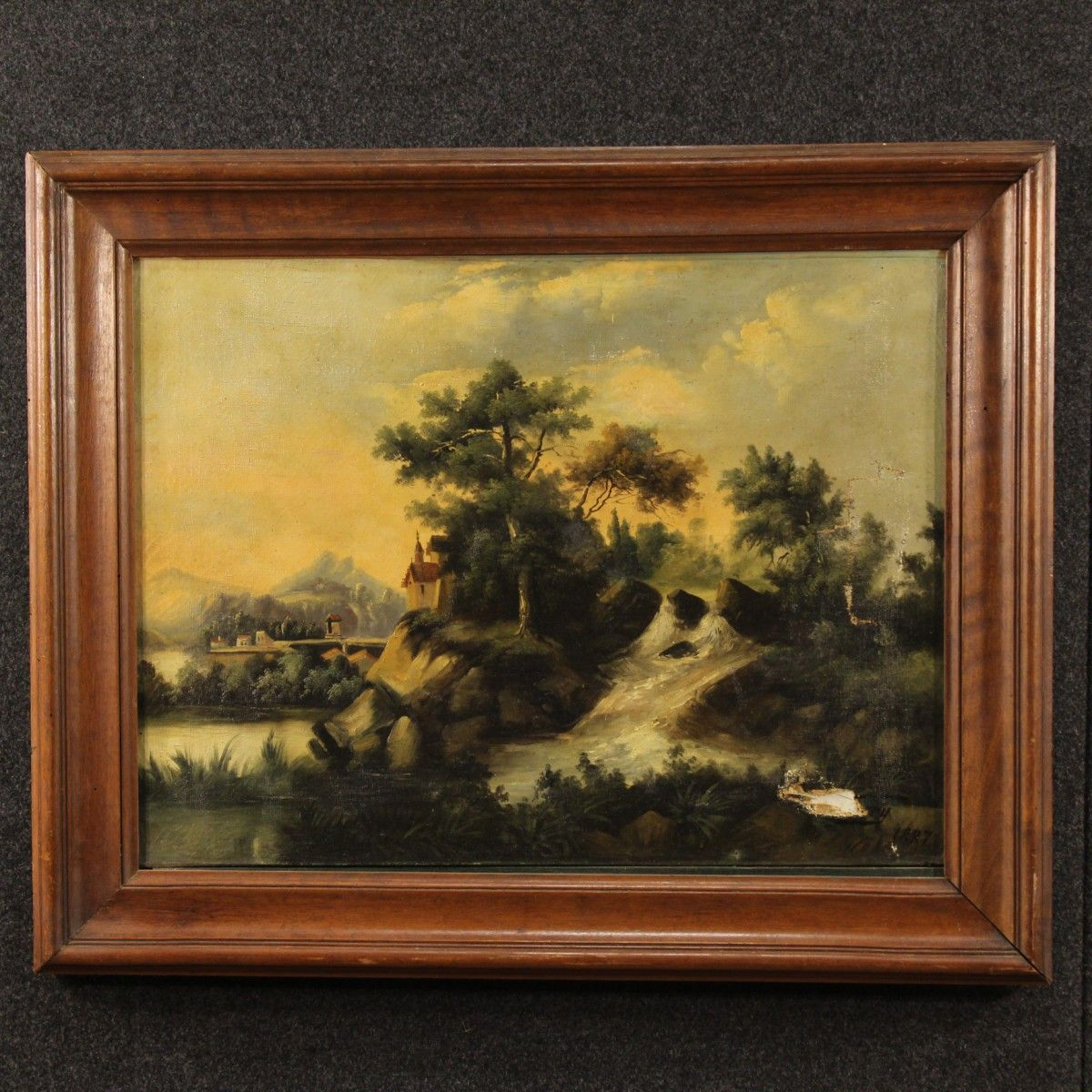 "Price: 490€ Ancient French painting dated 1887.  Work oil on canvas depicting pretty landscape. Painting signed ""Ferry"" and dated 1887 lower right. Carved wooden frame of the 20th century. Painting presenting on the right side of a tear and a hole. To be restored. Painting internal measure: H 47.5 x W 63 cm. #antiques #antiquariato Visit our website www.parino.it"