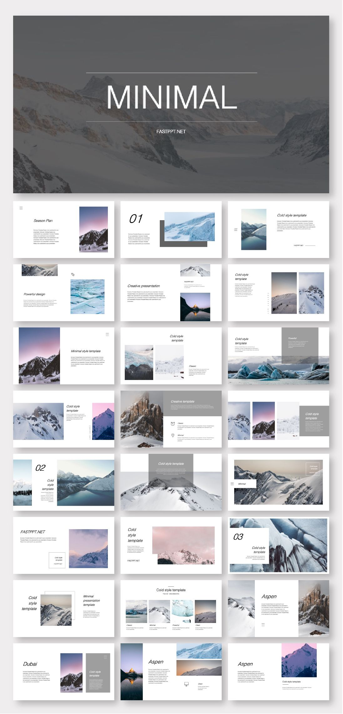 Clean Cold Photo Layout Presentation Template