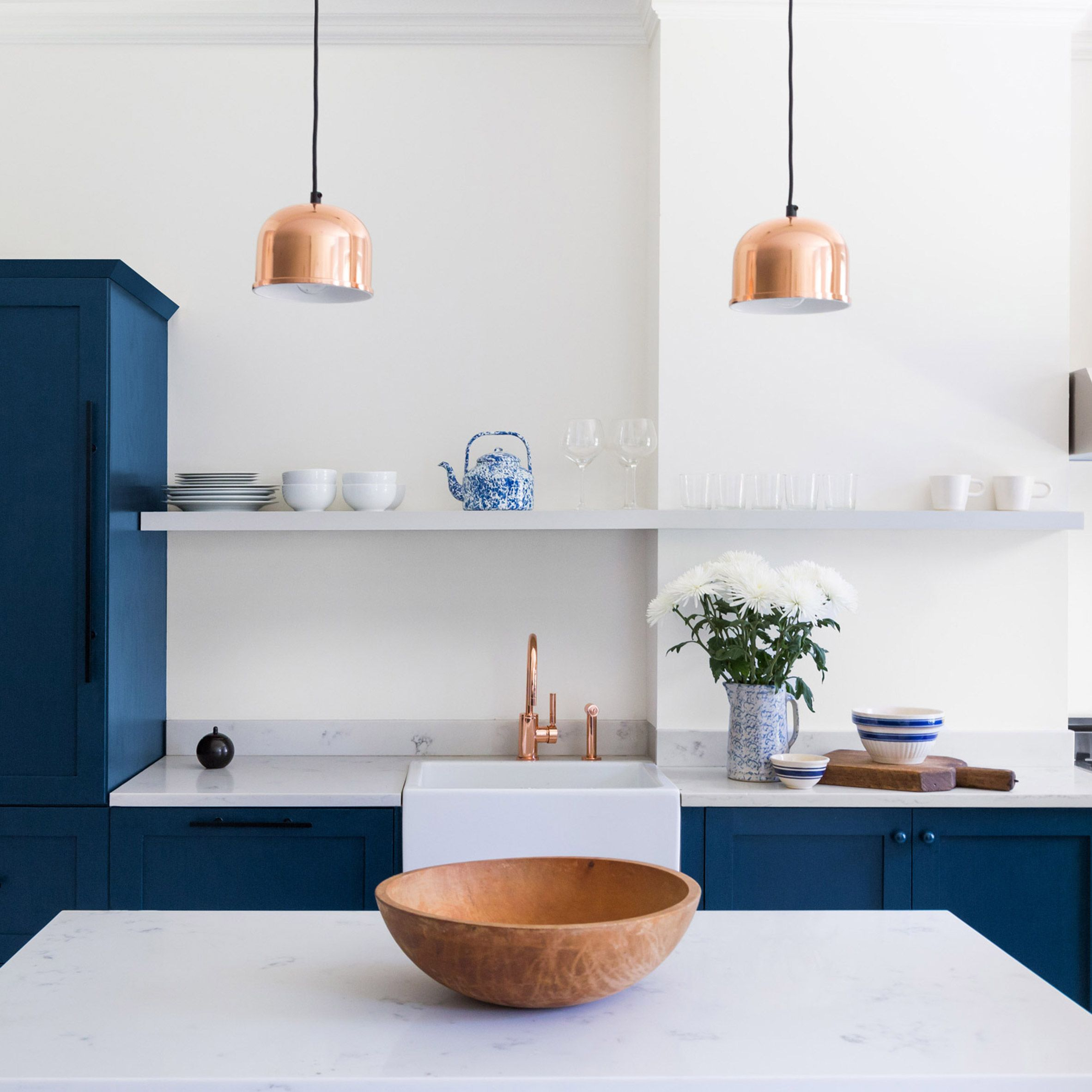 Existing Kitchen Cabinetry Was Ripped Out And Replaced With Custom Made Storage Most Of Which Is Fr Blue Kitchen Inspiration Modernist Furniture Blue Kitchens