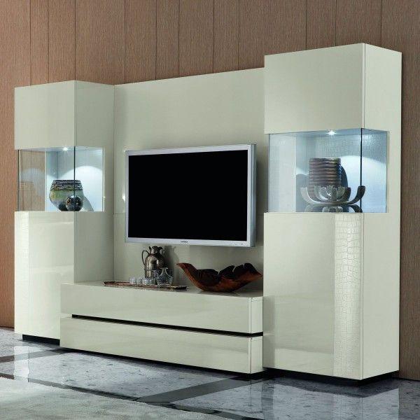 Unique White Wall Unit Glass Showcase Living Room Furniture