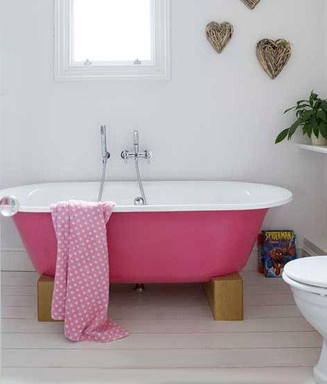 Bathroom With Pink Bath Pink Baths Bathroom Bath And White - Missoni black and white bath mat for bathroom decorating ideas