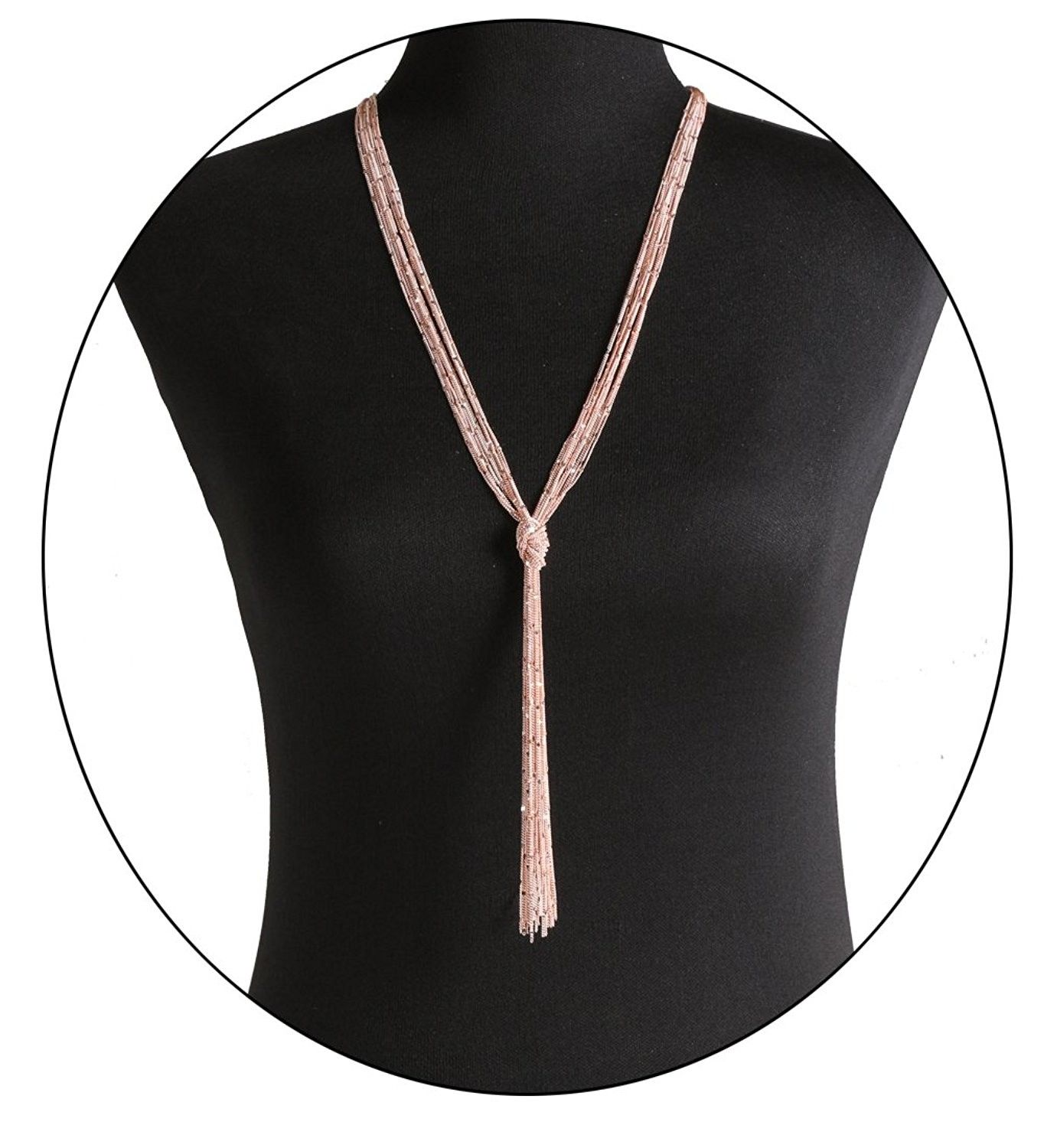 e77f8379f323a Women Multi Chain Necklace Waterfall Multi Strand Jewel Chain Tassel  Necklace - knot Y necklace rose gold - CS1887R8LT5 - Necklaces