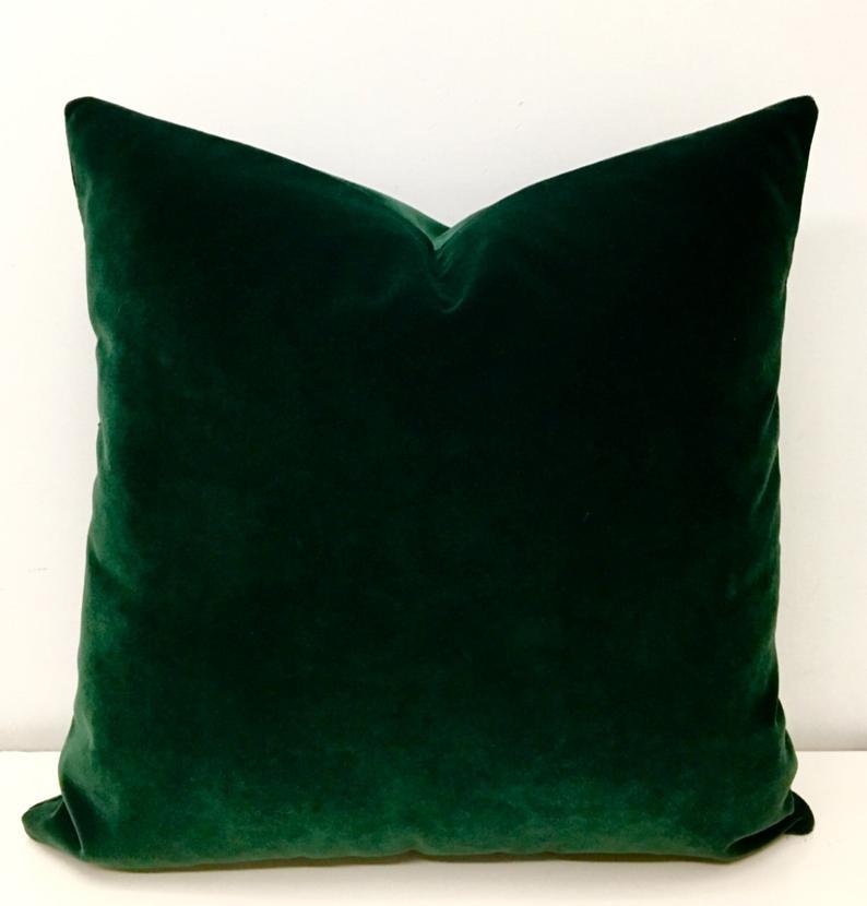 Luxury Dark Green Velvet Throw Pillow Velvet Pillow Cover Etsy Green Throw Pillows Green Velvet Pillow Green Pillows
