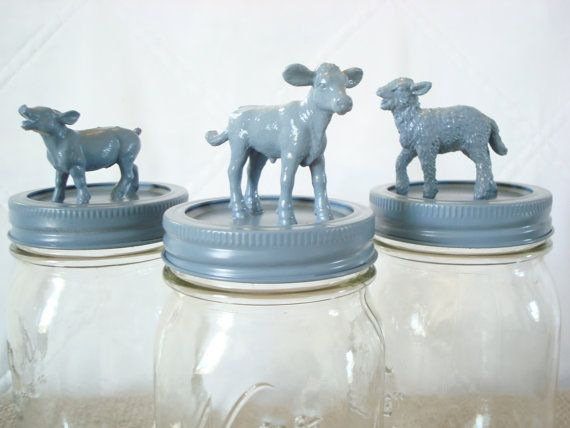 Home Decor Storage Jars Blue Cow Sheep Pig Jar